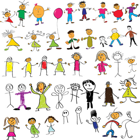 Collection of child like vector colour drawings Vector