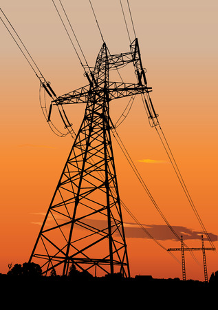volts: Vector silhouette of Power lines and electric pylons