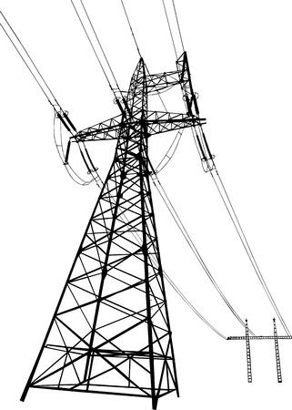 torres el�ctricas: Vector silueta de l�neas de transmisi�n de energ�a el�ctrica y torres