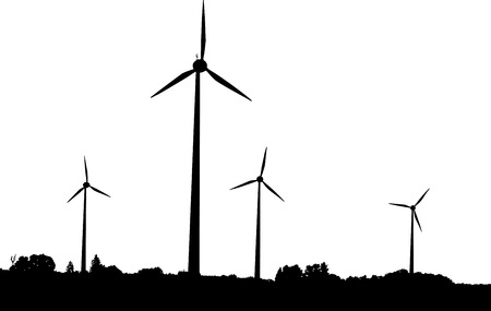 windmills: Vector silhouette of windturbines producing environment friendly energy