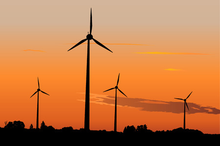windpower: Four windturbines against dramatic sunset producing environment friendly energy Illustration