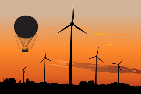 windpower: Vector silhouette of wind turbines and Air Balloon against sunset sky
