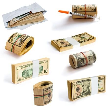 corrupcion: Colecci�n de d�lares aislados en blanco. Clipping camino incluido para cada objeto. Foto de archivo