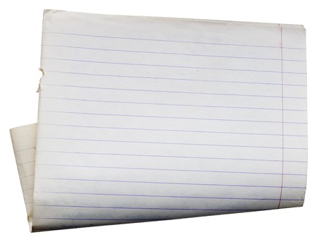 Sheet of old lined paper from note book. path included to easy remove object shadow or replace background. Stock Photo - 4287984