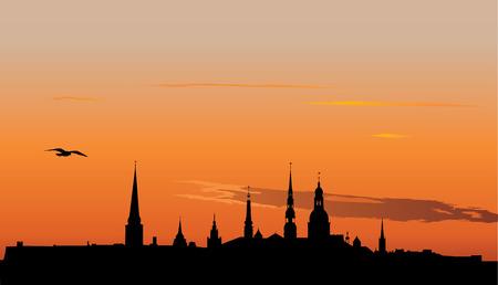 Vector illustration of Old Riga panorama silhouette in sunrise Illustration