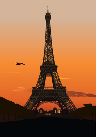 Vector illustration of Eiffel tower at sunset. Paris, France
