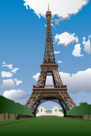 famous place: Vector illustration of Eiffel Tower from the Champ de Mars (Field of Mars) Illustration