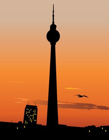 tv tower: Vector slilhouette of Berlin TV tower agaist sunset sky, Germany
