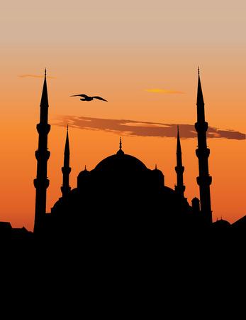sultano: Vector silhouette della Moschea del Sultano Ahmed o Moschea Blu di Istanbul contro il cielo al tramonto