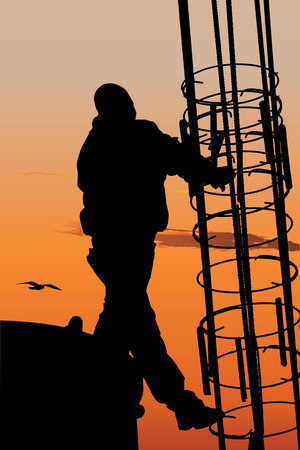 construction platform: Vector silhouette of construction worker against sunset sky