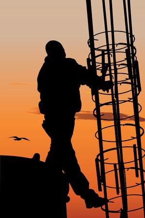 andamios: Vector silueta de trabajador de la construcci�n contra el cielo del atardecer Vectores