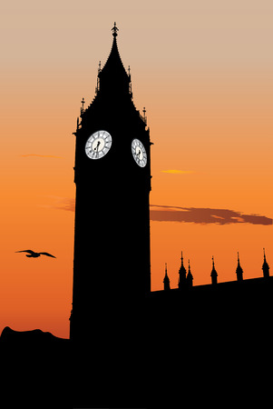 klockorna: Vector silhoute of Big Ben at sunset, one of the most popular landmark in London