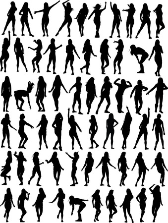 silhouette danseur: Big collection of Dancing femme. Soixante vecteur silhouettes