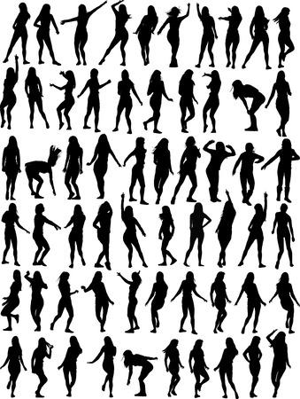 danseres silhouet: Grote verzameling van Dancing vrouw. Zestig vector silhouetten