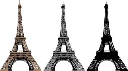 eiffel tower: Ilustraci�n vectorial de la Torre Eiffel en Paris, Francia