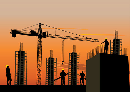 building site: Silhouette of construction site with workers and scaffolding at sunset sky