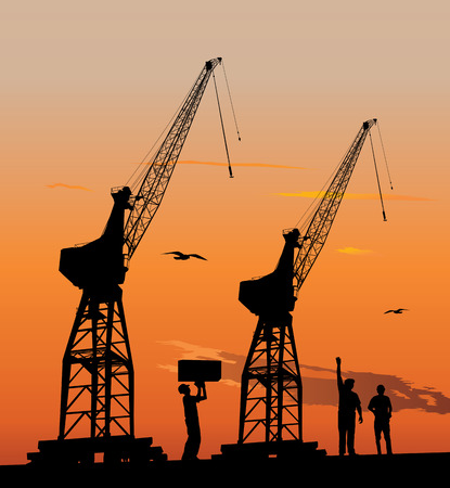 Silhouette of harbour workers and port cranes at sunset sky Vector