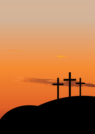 crucifixion: Hill with three crosees. Symbol of Golgotha, or Calvary, the hill on which Jesus was crucified