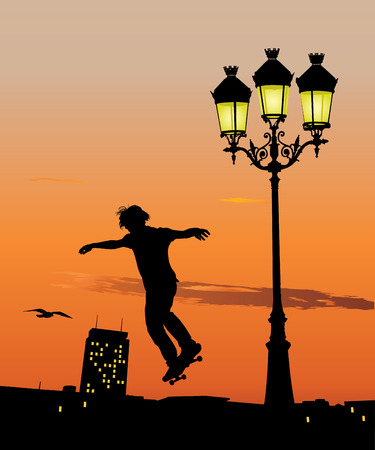 Silhouette of young skateboarder jumping in late evening. Vector illustration Vector