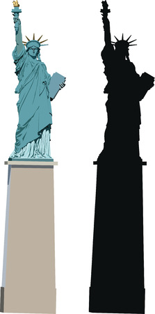 Vector illustration of Statue of Liberty in Paris - smaller sister of famous New York statue Illustration