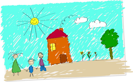 Vector illustration of childlike drawing of happy family in front of their home.