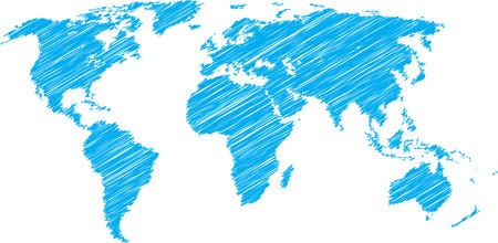 garabatos: Azul dibujo vectorial de mapa del mundo