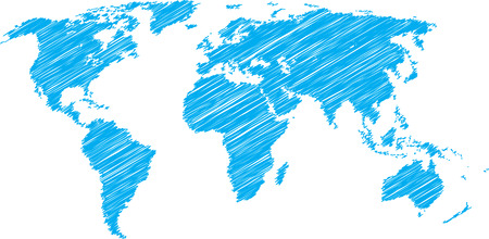 asia map: Blue vector sketch of world map Illustration