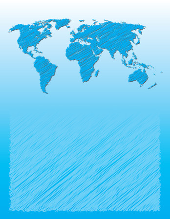 Blue business background with sketch of world map  Vector