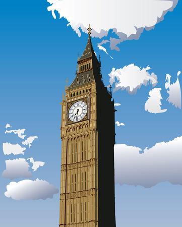 Vector illustration of Big Ben, one of the most popular landmark in London, Great Britain. Vetores