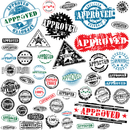 Collection of grunge office rubber stamps with word approved. See other rubber stamps in my portfolio. Stock Vector - 4716119