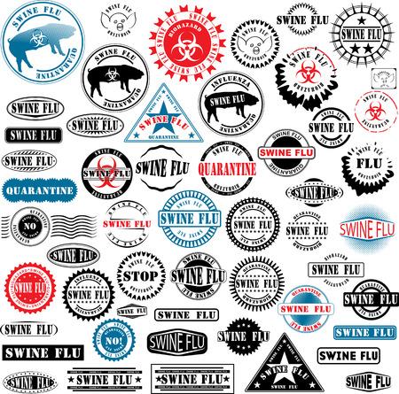 riesgo quimico: Colecci�n de sellos de goma alrededor de la gripe porcina. Ver otras colecciones de sellos de goma en mi cartera. Vectores