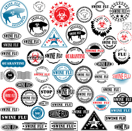 Collection of rubber stamps about swine flu. See other rubber stamp collections in my portfolio. Stock Vector - 4763606