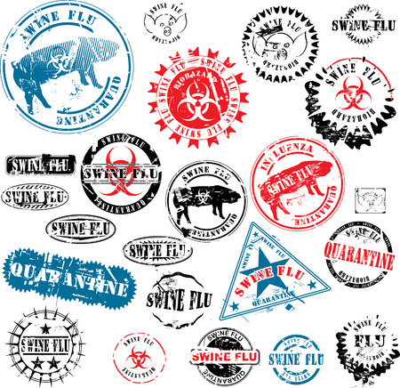 swine flu: Collection of rubber stamps about swine flu. See other rubber stamp collections in my portfolio. Illustration