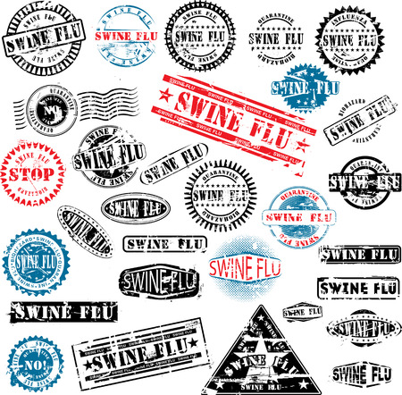 swine flu: Collection of grunge rubber stamps about swine flu. See other rubber stamp collections in my portfolio.