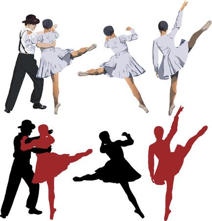 Vector illustration de Ballerine et danseur de ballet de danse de tango