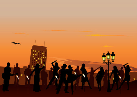 city man: Evening Party with dancing people. Sunset sky and city in background