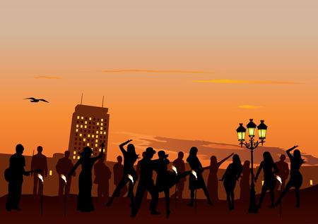 celebrate life: Parte noche de baile con la gente. Puesta del sol en el cielo y la ciudad de fondo Vectores