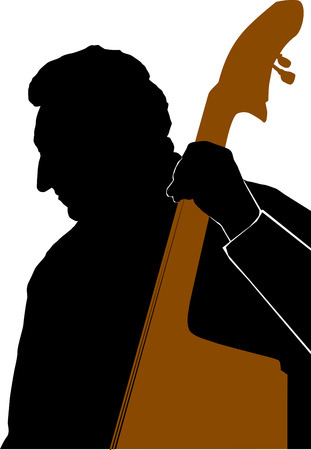 Silhouette of Man playing Double Bass or Contrabass Vector