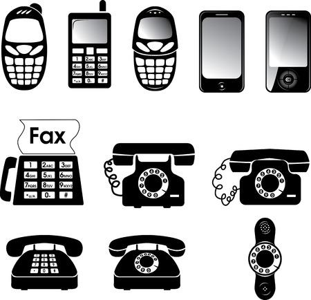 Collection de l'ancien et le nouveau vecteur de téléphone icônes
