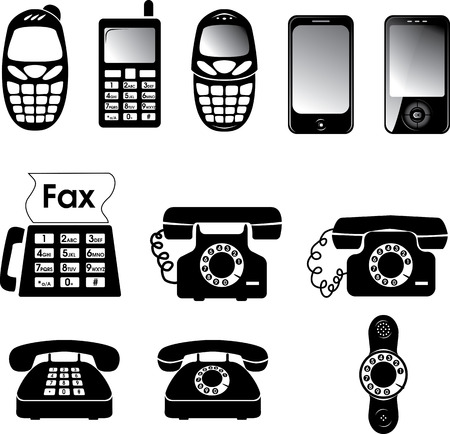 old phone: Collection of vector old and new phone icons