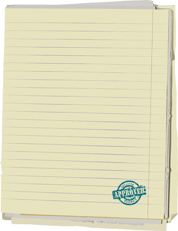 Vector illustration of stack of old lined papers from note book and rubber stamp. path included to easy remove object shadow or replace background. Vector