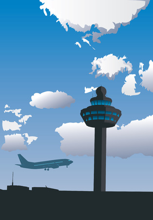 piste atterissage: Vector illustration de la tour de contr�le de l'a�roport et le vol d'avion
