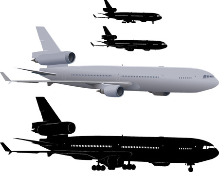 airborne vehicle: Vector illustration of three-engine passenger airliner McDonnell Douglas MD-11