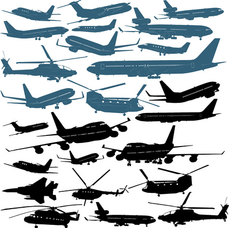 Vector illustrations of passenger airliners, military helicopters Vector