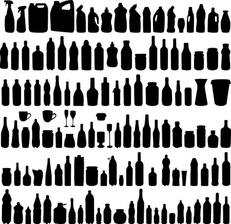 Large collection of vector illustration of the different bottles silhouettes Vector