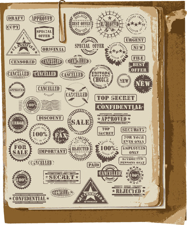 Vector collection of grunge rubber stamps on old paper Vector