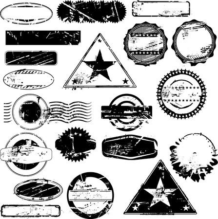 Colección de sellos de caucho vacío para su texto. Ver otras colecciones de sellos de goma en mi cartera. Ilustración de vector