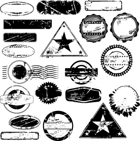 Collection of empty rubber stamps for your text. See other rubber stamp collections in my portfolio. Vector