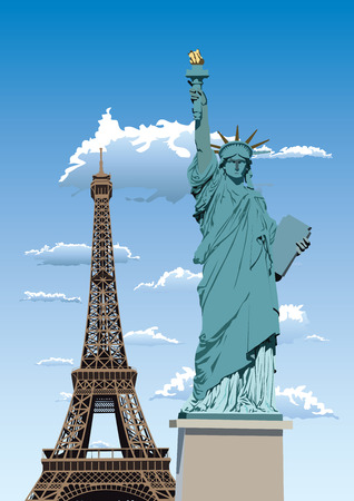 Vector illustration of Statue of Liberty in Paris and Eiffel tower against blue sky with white clouds Illustration