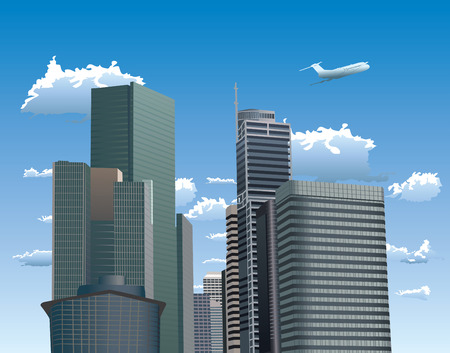 Vector illustration of skyscrapers. Blue sky with white clouds and flying airplane in background. Vector